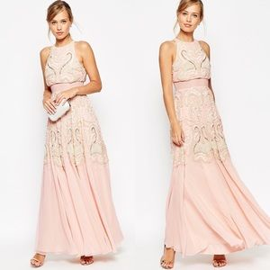 NWT ASOS Beaded Embellished Blush Maxi Dress 6